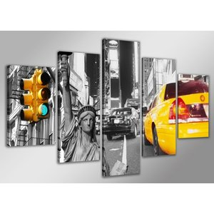Schilderij - New York Taxi, Geel/Grijs, 160X80cm, 5luik