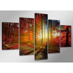 Schilderij - Zonsondergang door de Bomen, Rood/Oranje, 160X80cm, 5luik