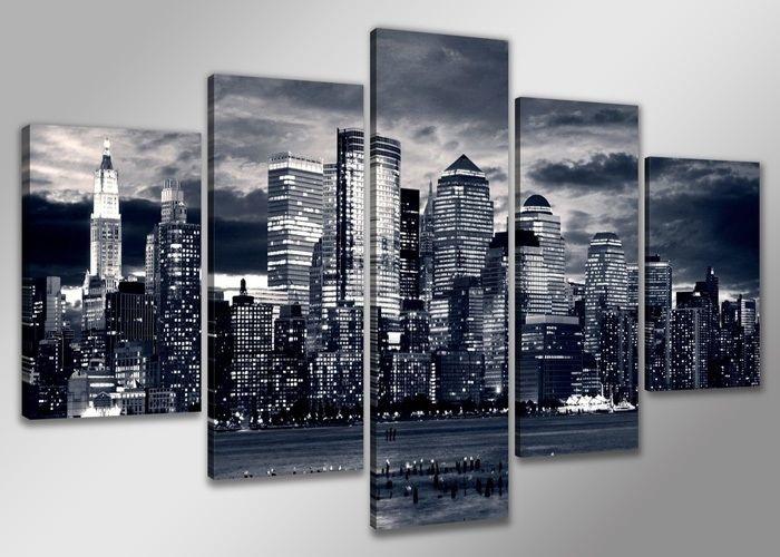 Schilderij - Skyline van New York. Grijs, 160X80cm, 5luik