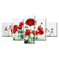 Schilderij - Klaprozen, Rood, 160X80cm, 5luik