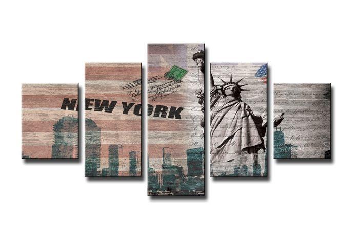 Schilderij - New York, Collage, 160X50cm, 5luik