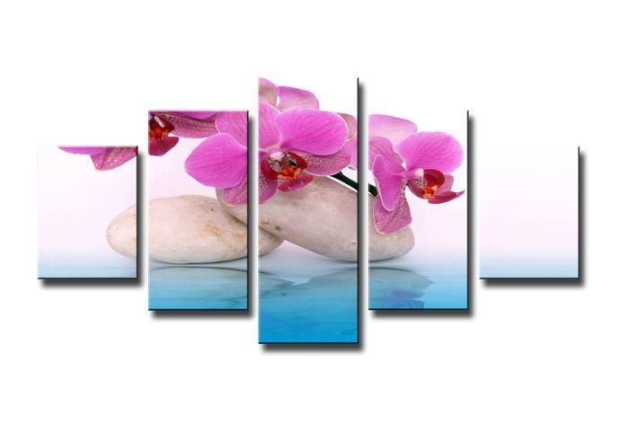 Schilderij - Orchidee en Zen, Blauw/Roze, 160X80cm, 5luik