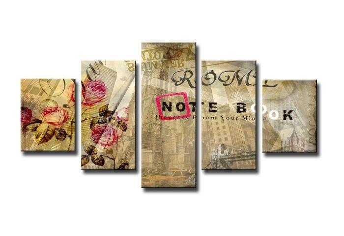Schilderij - Notebook, Collage, Beige, 160X80cm, 5luik