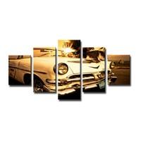 Schilderij - Oldtimer Cadillac, Bruin, 160X80cm, 5luik