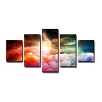 Schilderij - Kleurrijke Storm, Multi-Colored, 160X80cm, 5luik