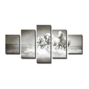 Schilderij - Galopperende Paarden, Grijs/Wit, 160X80cm, 5luik