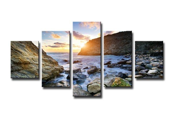 Schilderij - Zonsondergang aan Zee, Blauw, 160X80cm, 5luik