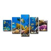 Schilderij - Onderwater, Blauw, 160X80cm, 5luik