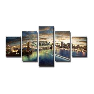 Schilderij - New York Brooklyn Bridge, Blauw, 160X80cm, 5luik
