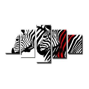 Schilderij - Zebra, Zwart-Wit/Rood, 160X80cm, 5luik