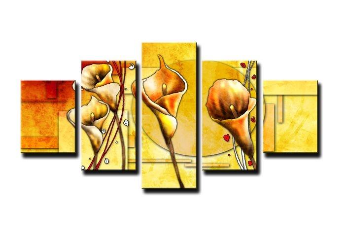 Schilderij - Abstracte Calla, Geel 160X80cm, 5luik