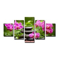 Schilderij - Orchidee en Zen, Groen/Roze, 160X80cm, 5luik