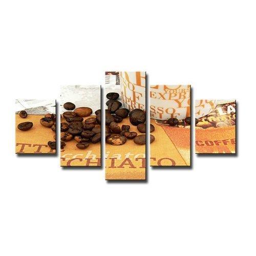 Schilderij - Koffie, Bruin, 160X80cm, 5luik