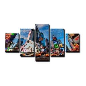 Schilderij - Time Square New York, Blauw, 160X80cm, 5luik