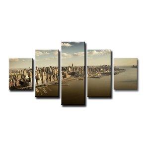 Schilderij - New York Gebouwen, Beige, 160X80cm, 5luik