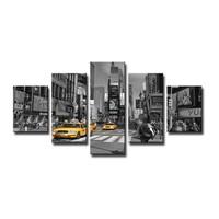 Schilderij - New York Taxi, Grijs/Geel,160X80cm, 5luik