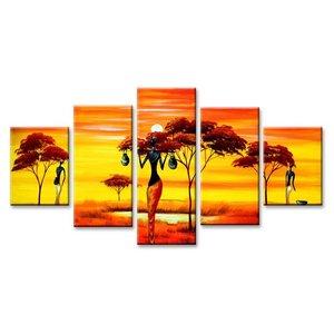 Schilderij - Afrika, Geel/Oranje, 160X80cm, 5luik