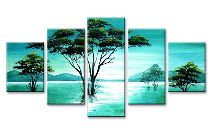 Schilderij - Abstracte Natuur, Blauw/Groen, 160X80cm, 5luik