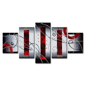 Schilderij - Abstract, Rood/Zilver, 160X80cm, 5luik