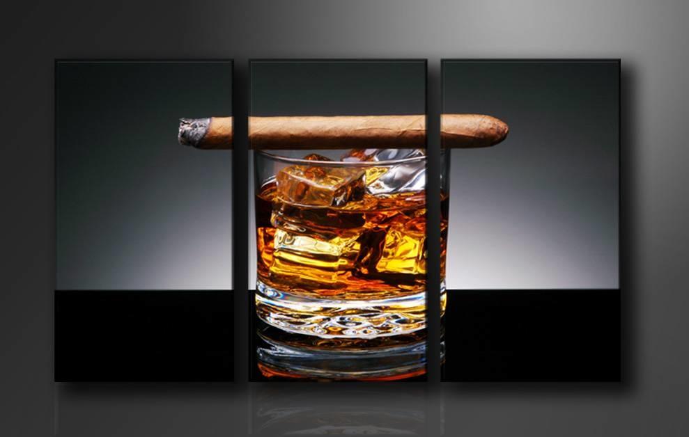 -37% SALE | Canvas Schilderij - Whiskey en Sigaar, Bruin/Grijs, 160X90cm, 3luik