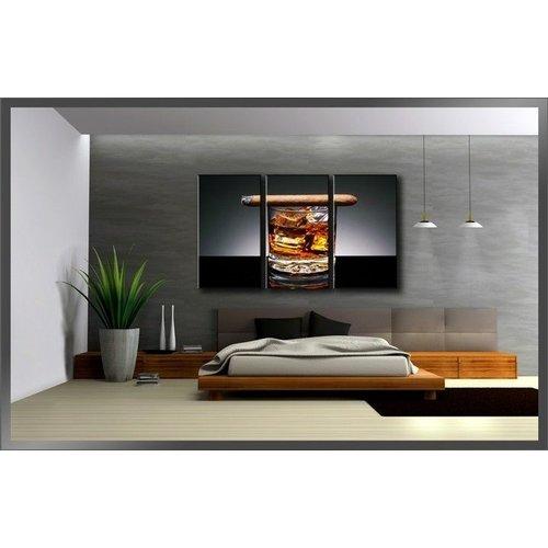 Canvas Schilderij - Whiskey en Sigaar, Bruin/Grijs, 160X90cm, 3luik