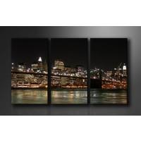 Schilderij - Lichten van New York, Zwart/Bruin, 160X90cm, 3luik