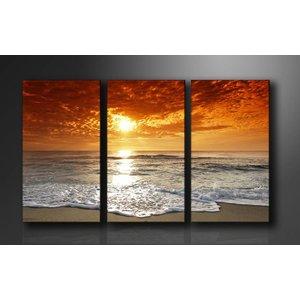 Schilderij - Strand/Sunset, Oranje, 160X90cm, 3luik
