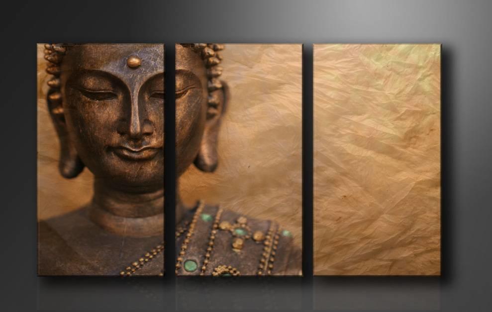 Schilderij - Boeddha, Bruin, 160X90cm, 3luik