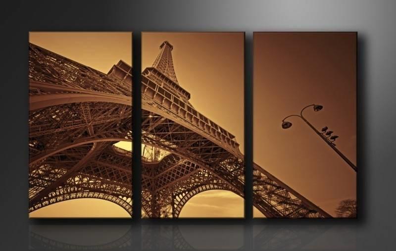 Schilderij - Parijs Eiffeltoren, Bruin, 160X90cm, 3luik