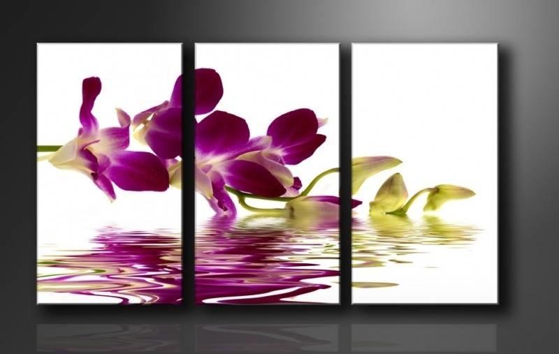 Schilderij - Orchidee, Paars, 160X90cm, 3luik