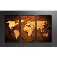 Schilderij - Wereldkaart,  160X90cm, 3luik