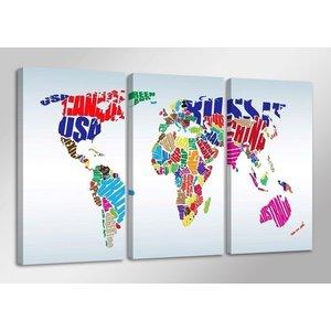 Schilderij - Wereldkaart Landnamen, Multi-Colored, 160X90cm, 3luik
