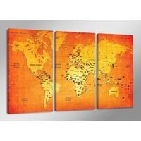 Schilderij - Wereldkaart, Oranje, 160X90cm, 3luik