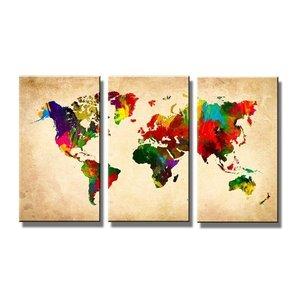 Schilderij - Wereldkaart, Multi-Colored, 160X90cm, 3luik