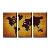 Schilderij - Wereldkaart, Bruin, 160X90cm. 3luik