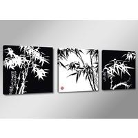 Schilderij - Bamboe, Zwart/Wit, 150X50cm, 3luik