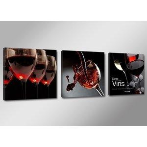 Schilderij - Wijn, Rood/Zwart, 150X50cm, 3luik
