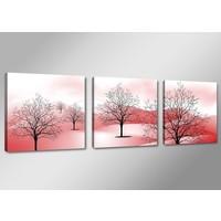 Schilderij - Abstracte Bomen Bergen, Roze, 150X50cm, 3luik