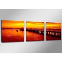 Schilderij - Steiger, Oranje, 150X50cm, 3luik