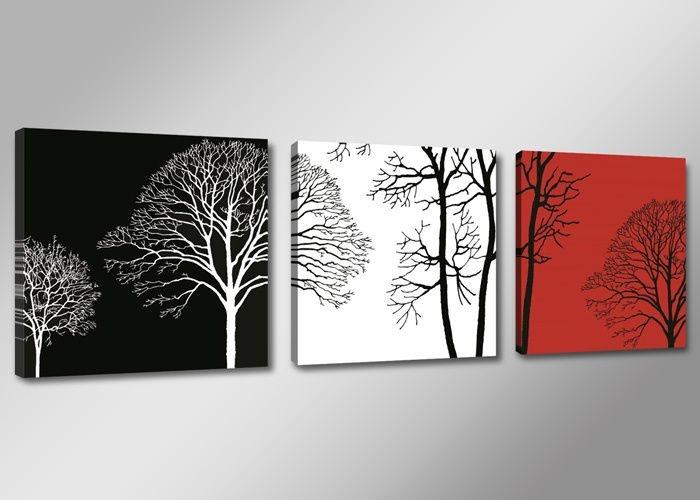 Schilderij - Boom, Zwart-Wit/Rood, 150X50cm, 3luik
