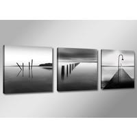 Schilderij - Stil Water, Zwart-Wit, 150X50cm, 3luik