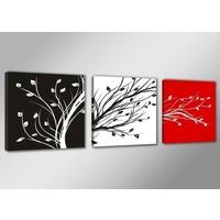 Schilderij - Boom Abstract, Zwart-Wit/Rood, 150X50cm, 3luik