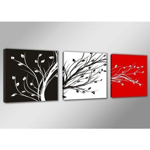 Fonkelnieuw Schilderij - Boom Abstract, Zwart-Wit/Rood, 150X50cm, 3luik - Karo UV-21