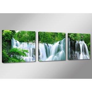 Schilderij - Waterval, Groen/Blauw, 150X50, 3luik