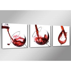 Schilderij - Rode Wijn, Rood/Wit, 150X50cm, 3luik