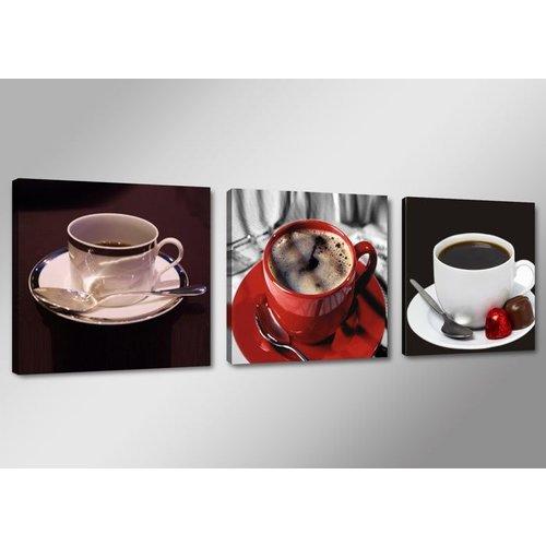 Canvas Schilderij - Koffie, Rood, 150X50cm, 3luik