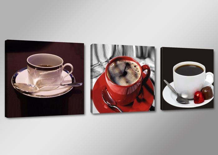 -44% SALE | Canvas Schilderij - Koffie, Rood, 150X50cm, 3luik