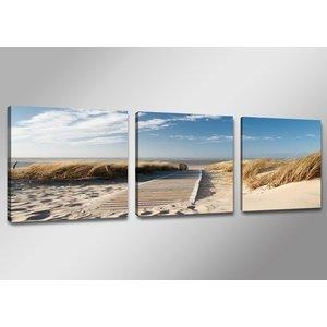 Canvas Schilderij - Uitzicht op Noordzee, Blauw/Beige, 150X50cm, 3luik