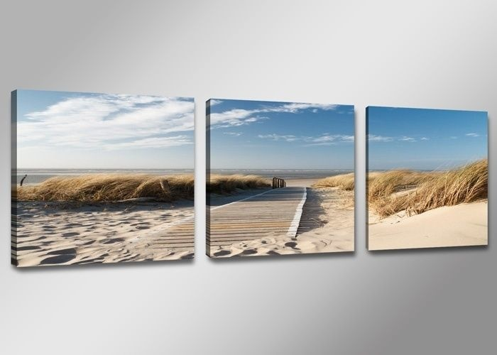 -46% SALE | Canvas Schilderij - Uitzicht op Noordzee, Blauw/Beige, 150X50cm, 3luik