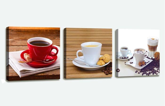 Schilderij - Koffie Cafe, Bruin, 150X50cm, 3luik